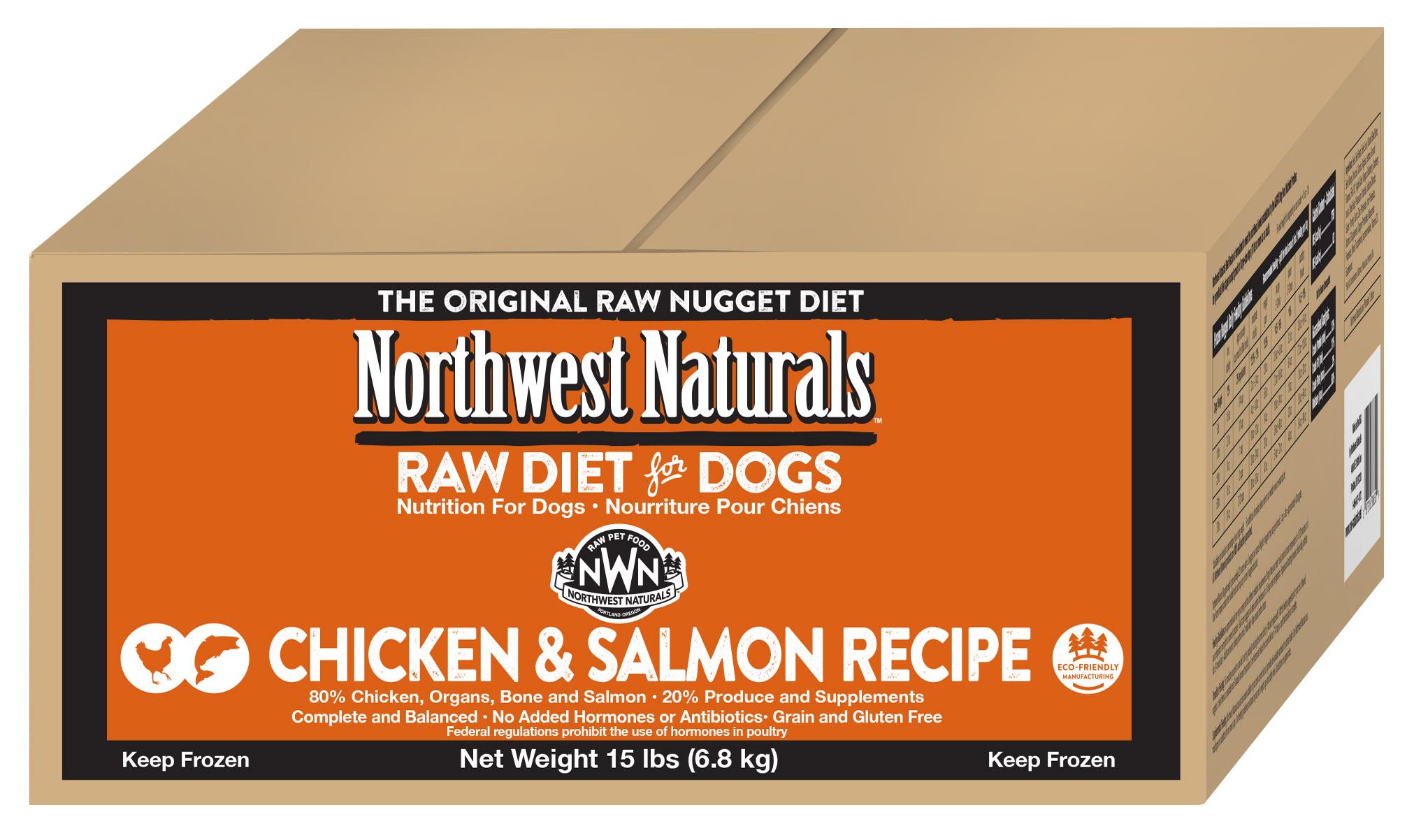 Northwest Naturals Raw Diet Grain-Free Chicken & Salmon Nuggets Raw Frozen Dog Food, 15-lb