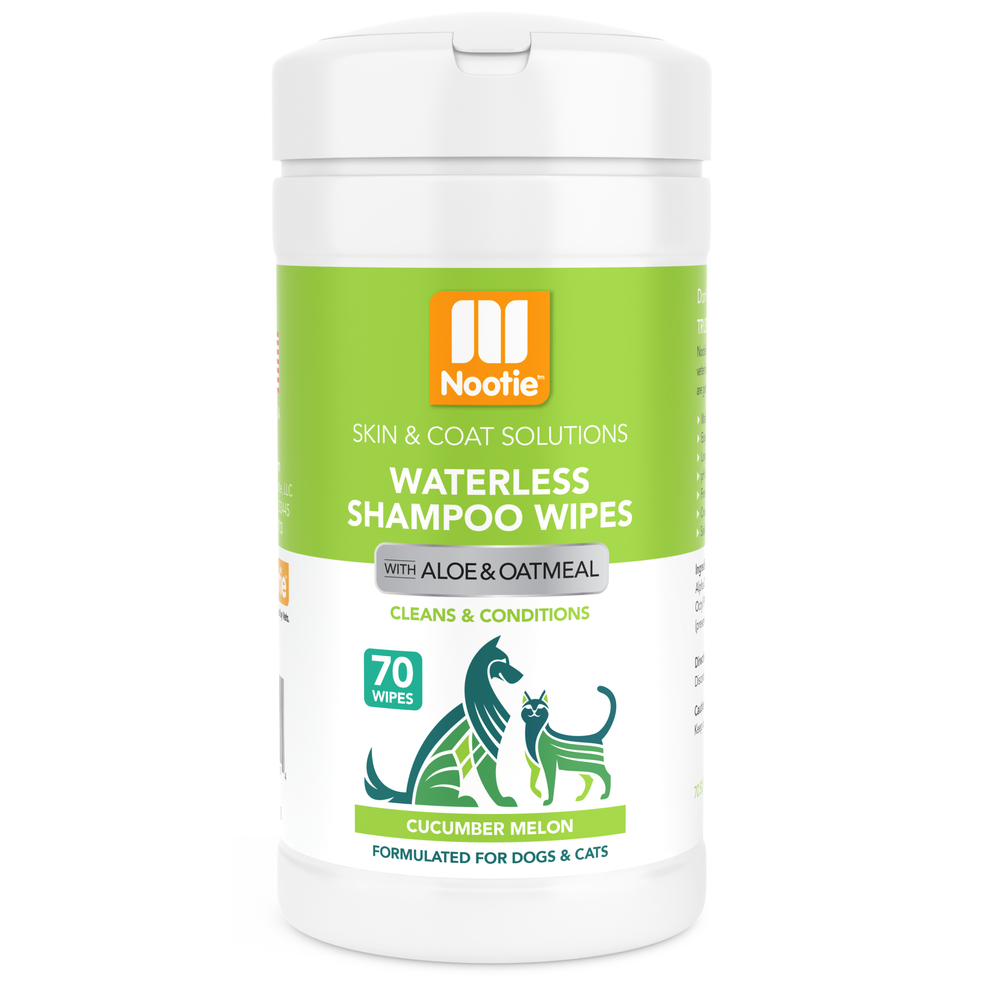 Nootie Cucumber Melon Dog & Cat Waterless Shampoo Wipes, 70 count