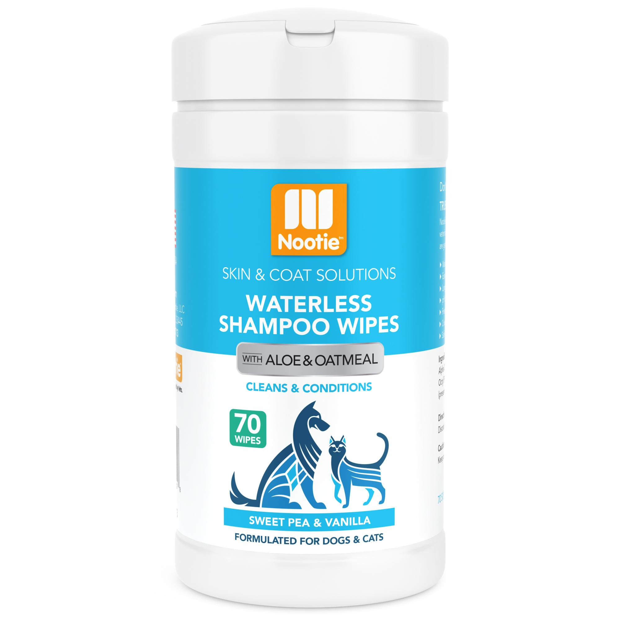 Nootie Sweet Pea & Vanilla Dog & Cat Waterless Shampoo Wipes, 70 count
