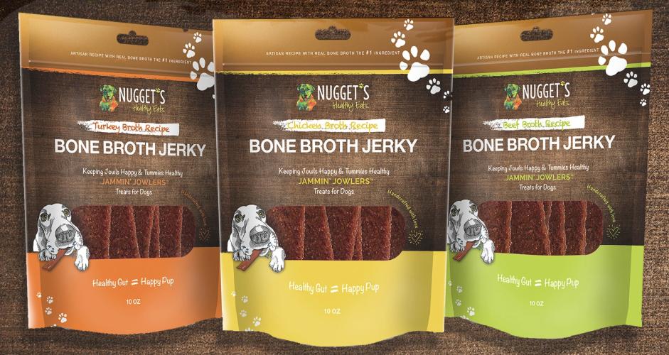 Nugget's Healthy Eats Jammin' Jowlers Bone Broth Jerky Beef Dog Treats, 10-oz