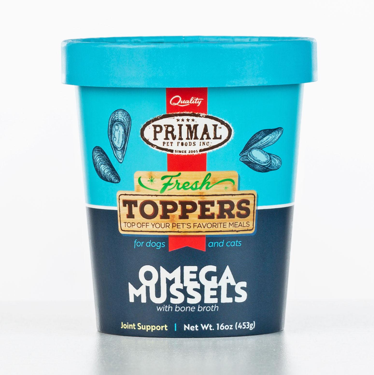 Primal Fresh Toppers Omega Mussels, Frozen Dog & Cat Food Topper, 16-oz