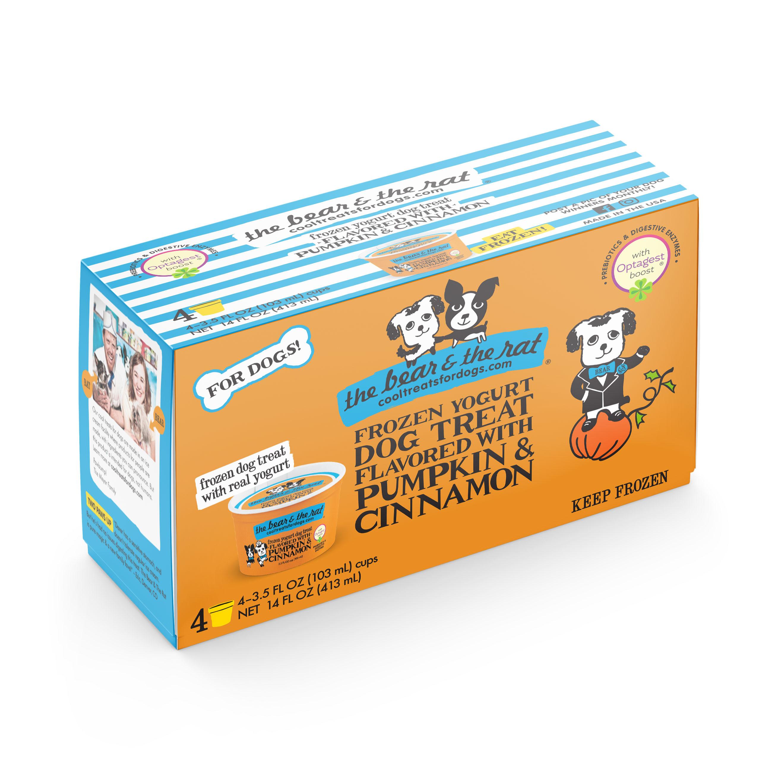 The Bear & The Rat Pumpkin & Cinnamon Frozen Yogurt Dog Treats, 3.5-oz, 4-pack