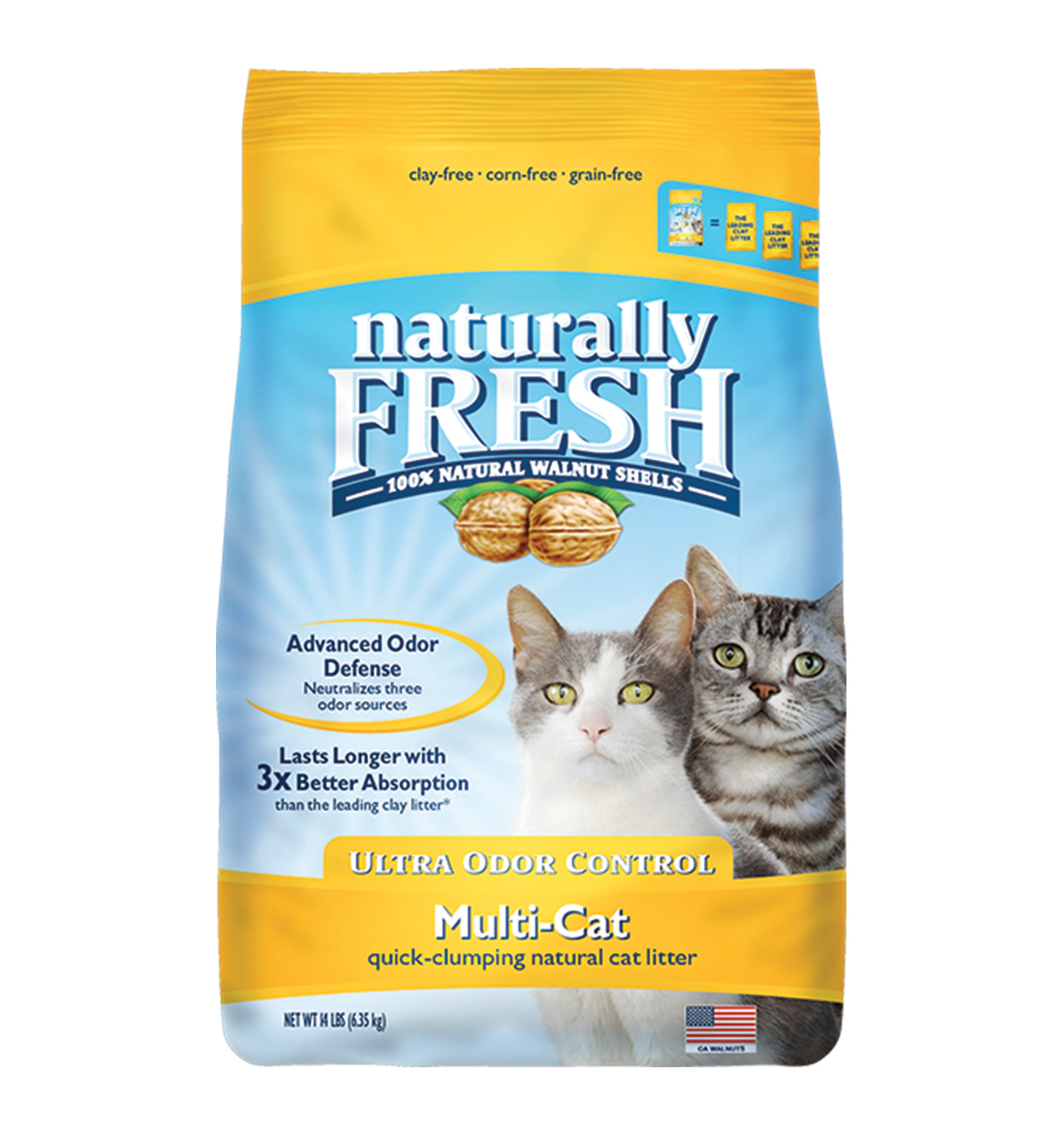 Naturally Fresh Walnut-Based Multi-Cat Ultra Odor Control Quick-Clumping Cat Litter, 14-lb bag