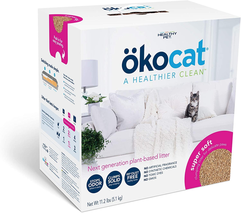 Okocat Super Soft Clumping Wood Cat Litter, 11.2-lb