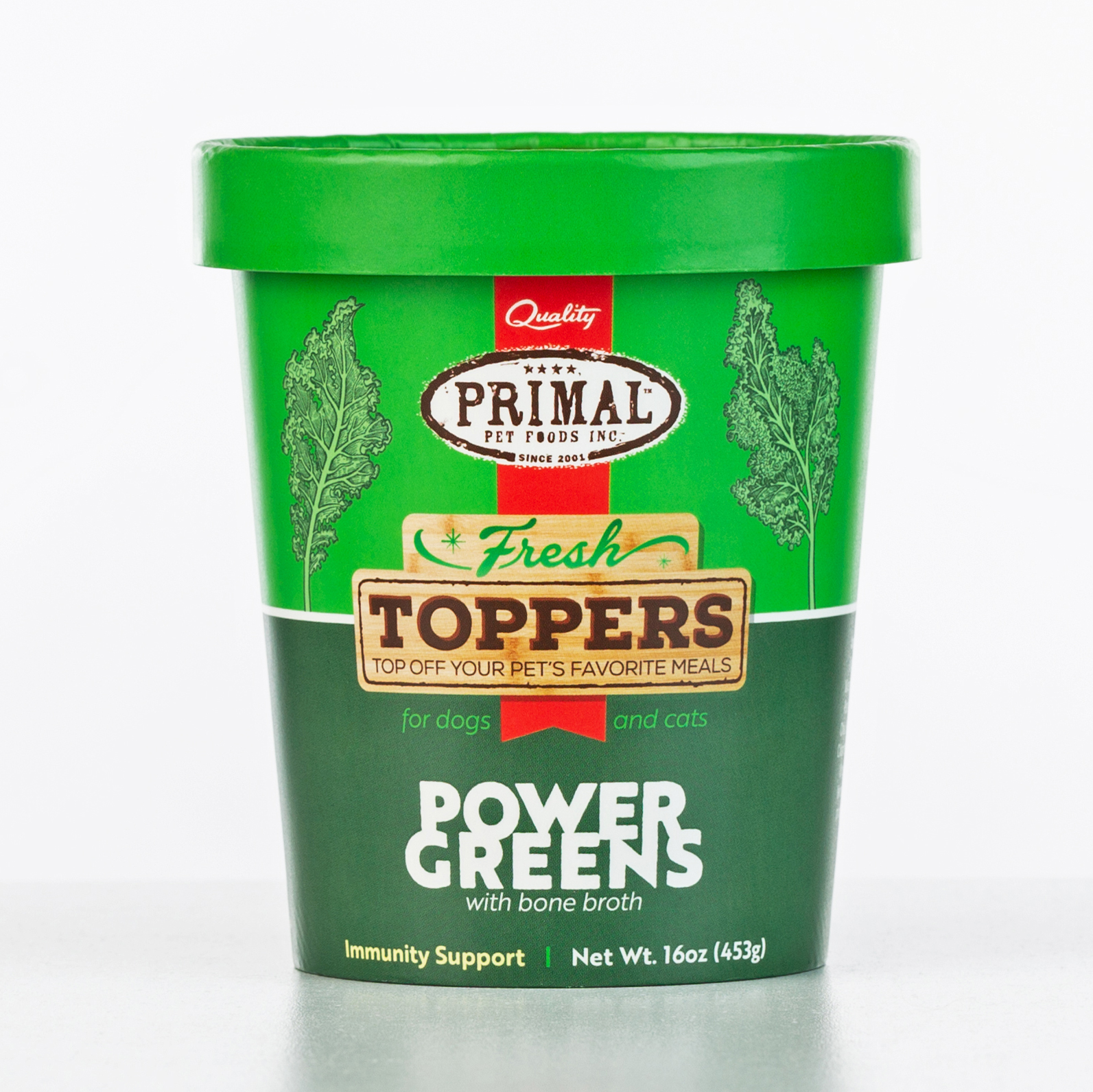 Primal Fresh Toppers Power Greens, Frozen Dog & Cat Food Topper, 16-oz