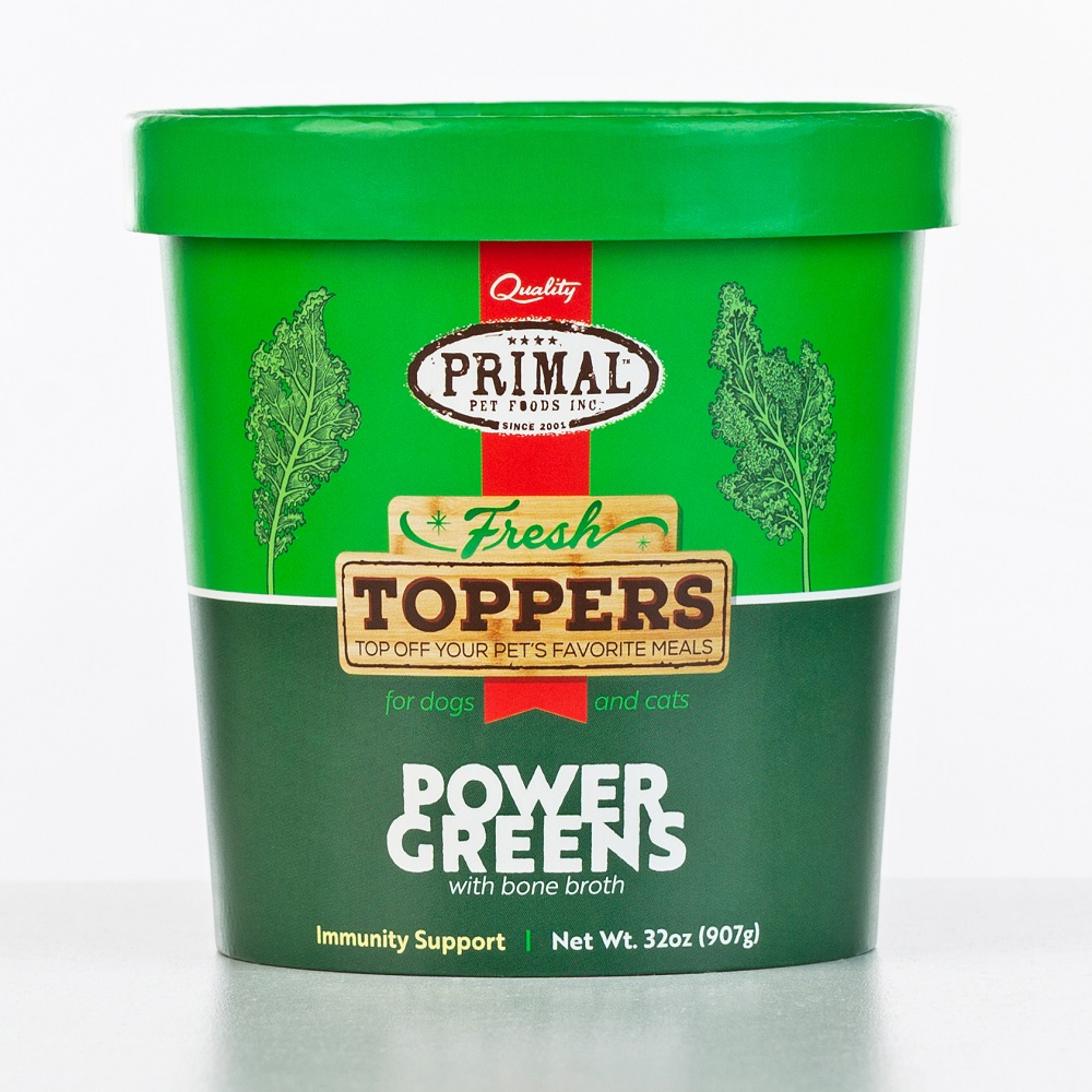 Primal Fresh Toppers Power Greens, Frozen Dog & Cat Food Topper, 32-oz