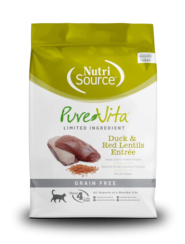 PureVita Grain Free Duck and Red lentils Dry Cat Food, 6.6-lb