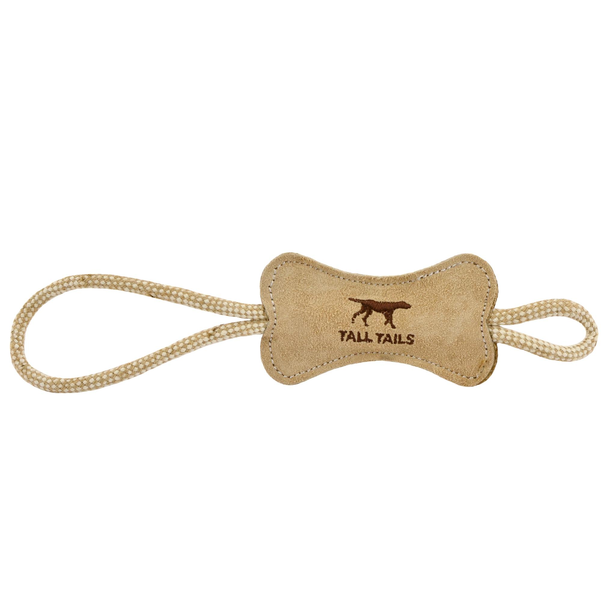 Tall Tails Natural Leather Bone Tug Dog Toy Image