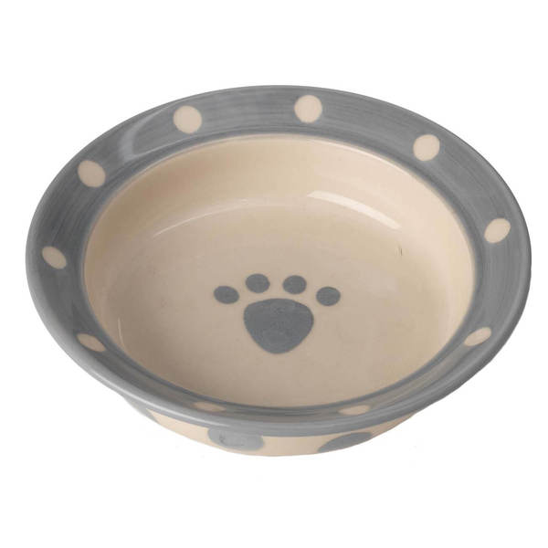 Petrageous Polka Paws Saucer, Gray, 6-in