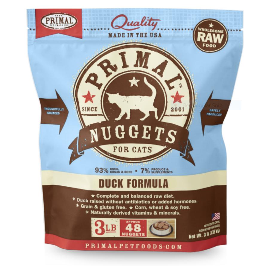 Primal Duck Formula Nuggets Grain-Free Raw Frozen Cat Food, 3-lb