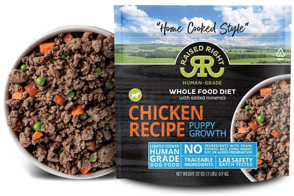 """Raised Right's Chicken Human-Grade Frozen Puppy Food, Low Carb """"Home Cooked Style"""" Whole Food Diet, 2-lb bag"""