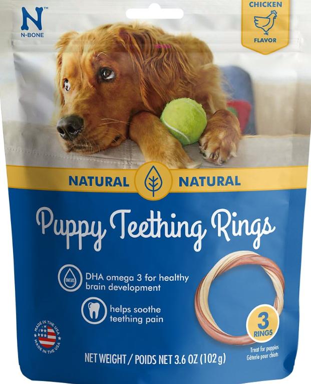 N-Bone Puppy Teething Ring Chicken Flavor Dog Treats, 3-pk