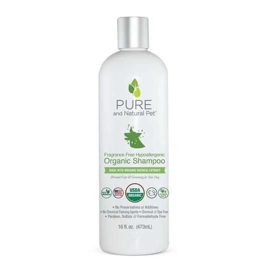 Pure and Natural Pet Fragrance Free Hypoallergenic Organic Dog Shampoo, 16-oz
