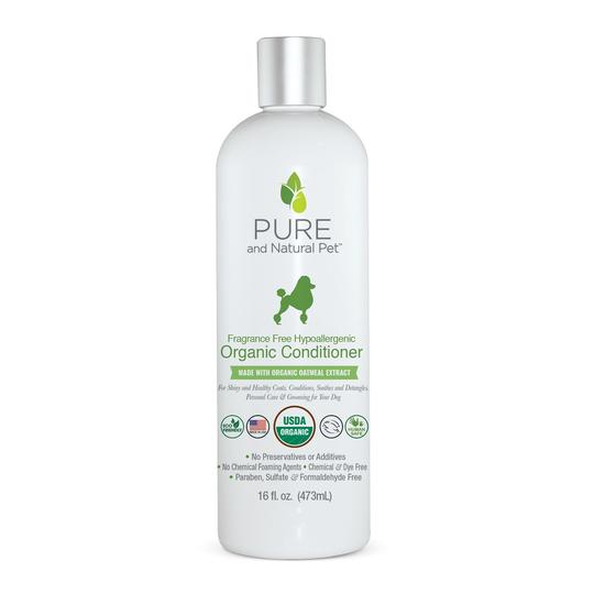 Pure and Natural Pet Fragrance Free Hypoallergenic Organic Dog Conditioner, 16-oz