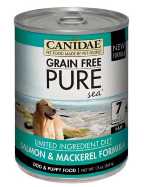 Canidae Grain-Free PURE Sea Salmon & Mackerel Formula Canned Dog Food, 13-oz, case of 12