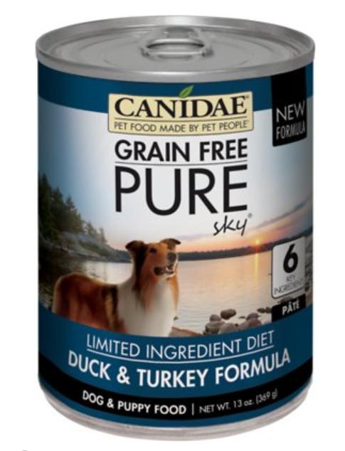Canidae Grain-Free PURE Sky Duck & Turkey Formula Canned Dog Food, 13-oz, case of 12