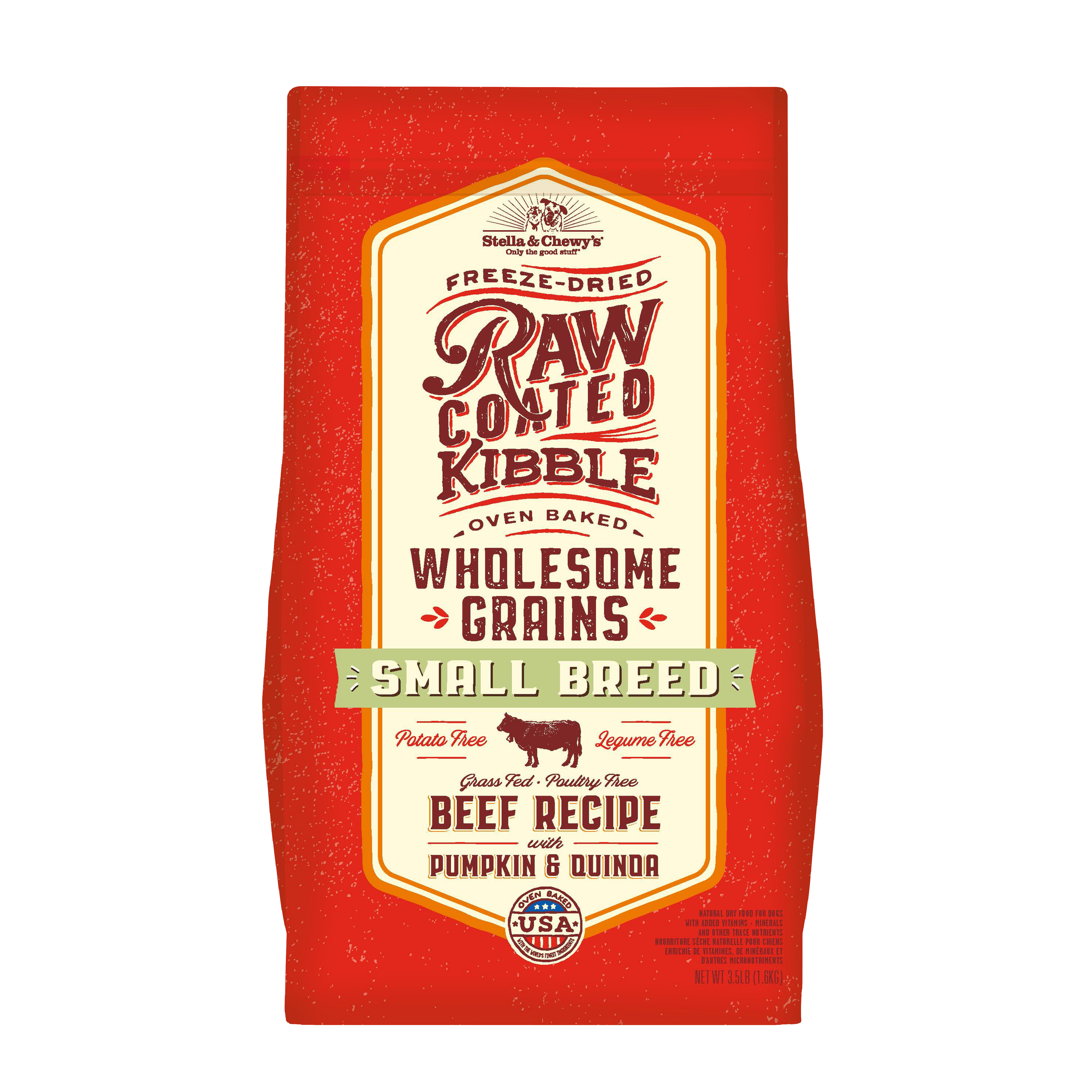 Stella & Chewy's Raw Coated Kibble with Wholesome Grains Small Breed Beef, Pumpkin & Quinoa Dry Dog Food, 3.5-lb