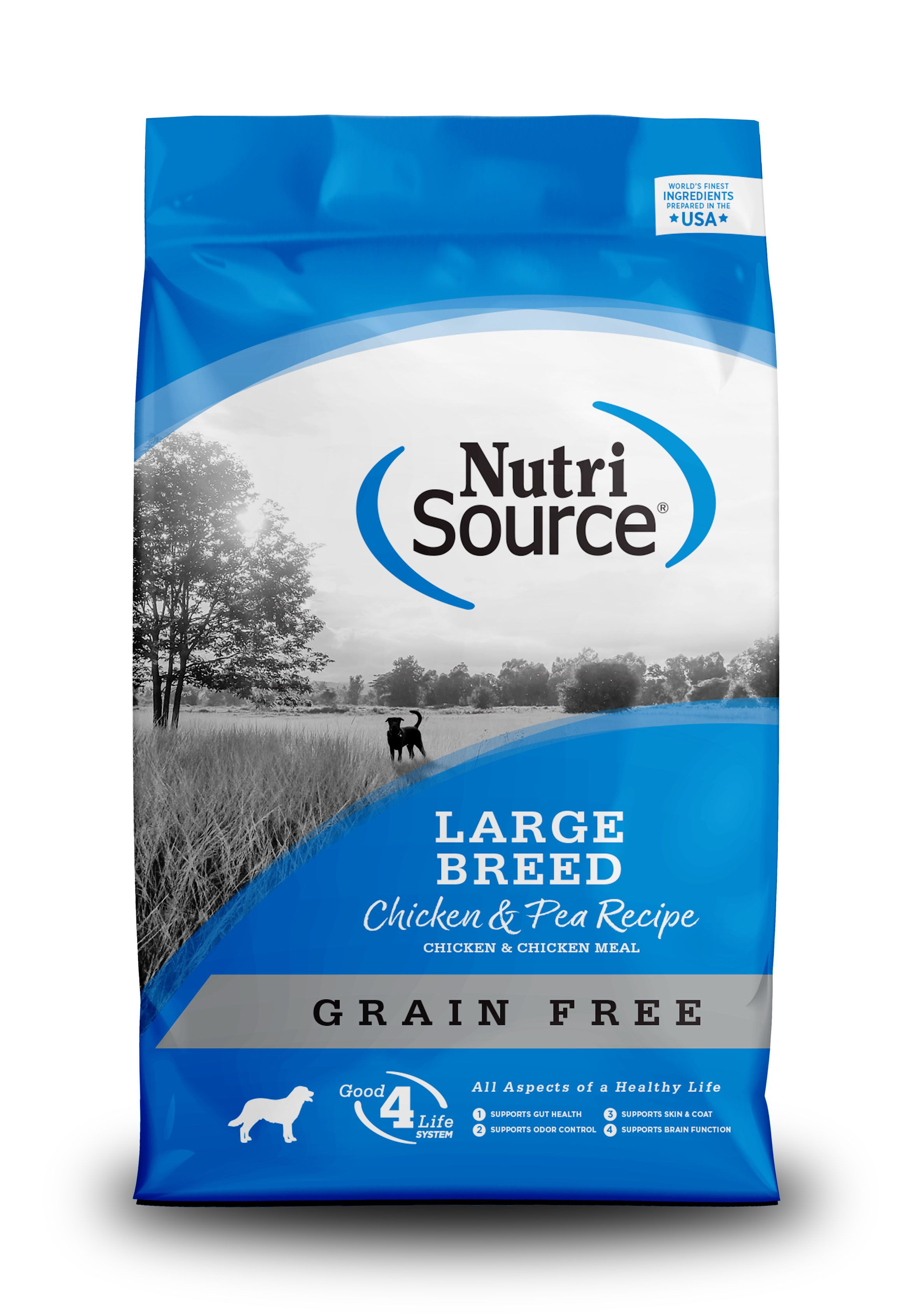 NutriSource Grain Free Large Breed Chicken and Pea Dry Dog Food, 30-lb