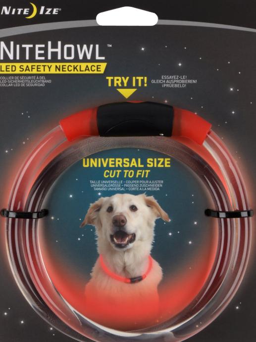 Nite Ize NiteHowl LED Safety Dog Necklace, Red (Color: Red) Image