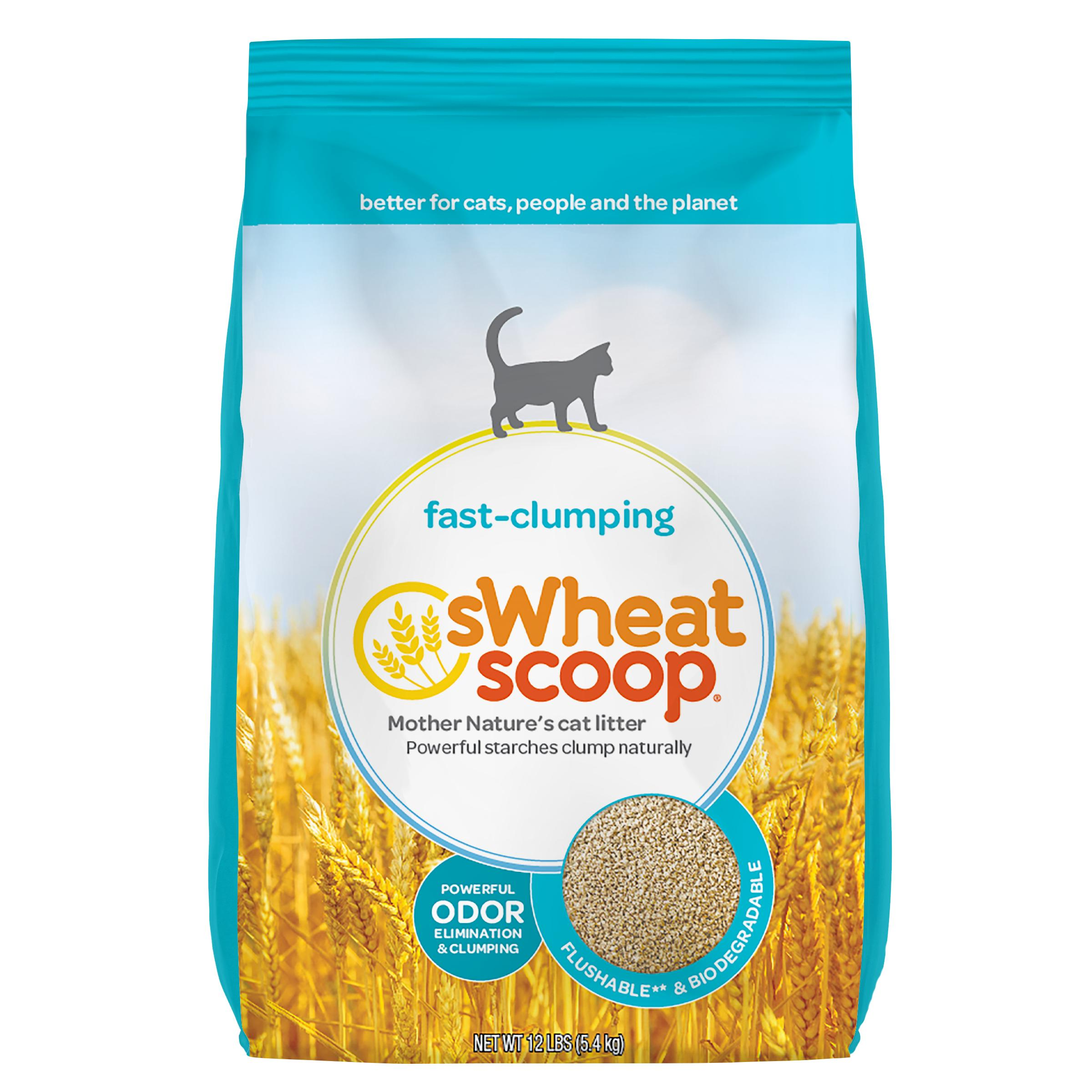 sWheat Scoop Natural Fast-Clumping Wheat Cat Litter, 12-lb