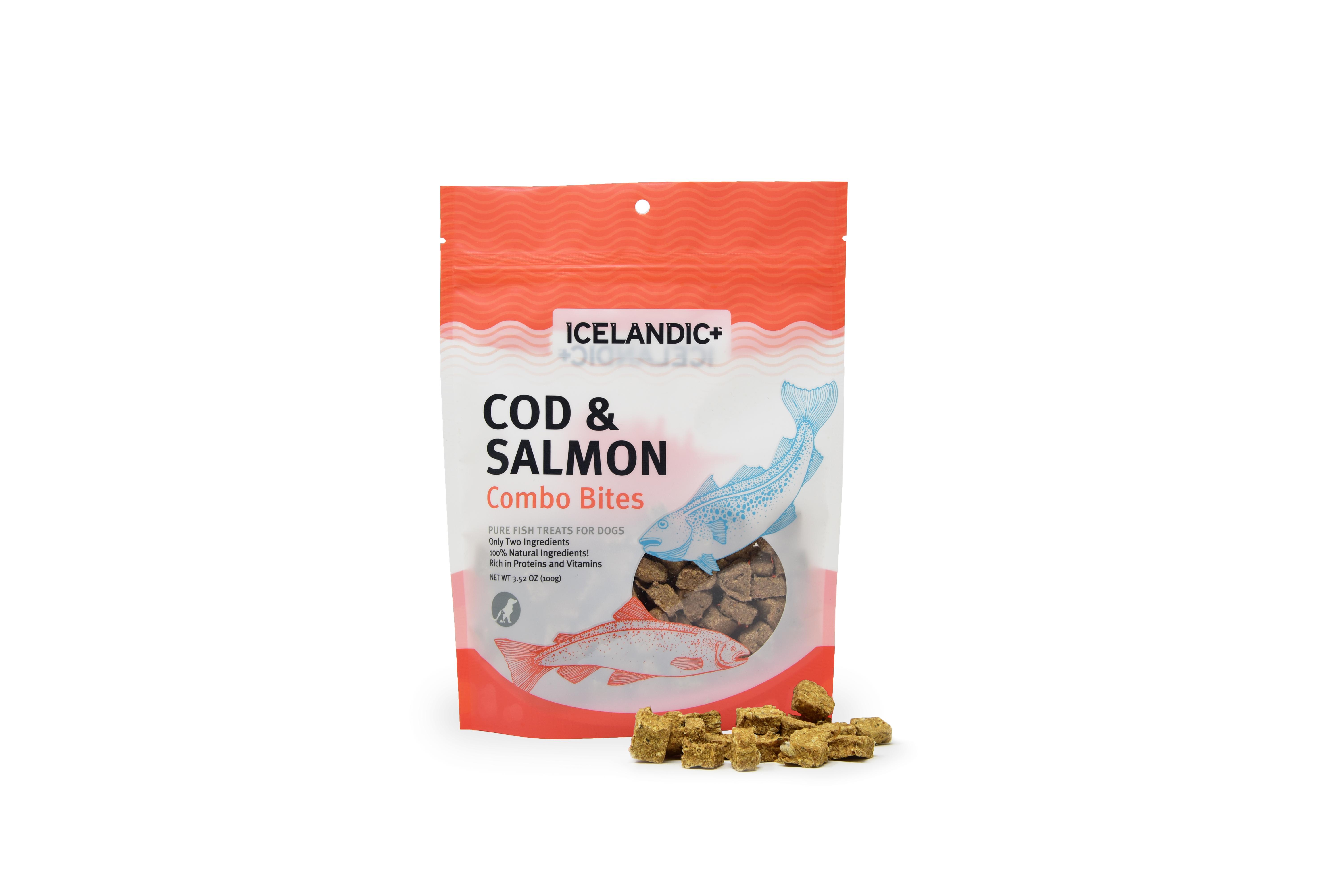 Icelandic+ Combo Fish Bites Dog Treat, Cod & Salmon, 3.52-oz bag