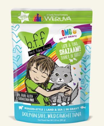 BFF Oh My Gravy! Shazaam! Lamb & Tuna Dinner in Gravy Grain-Free Wet Cat Food, Size: 2.8-oz