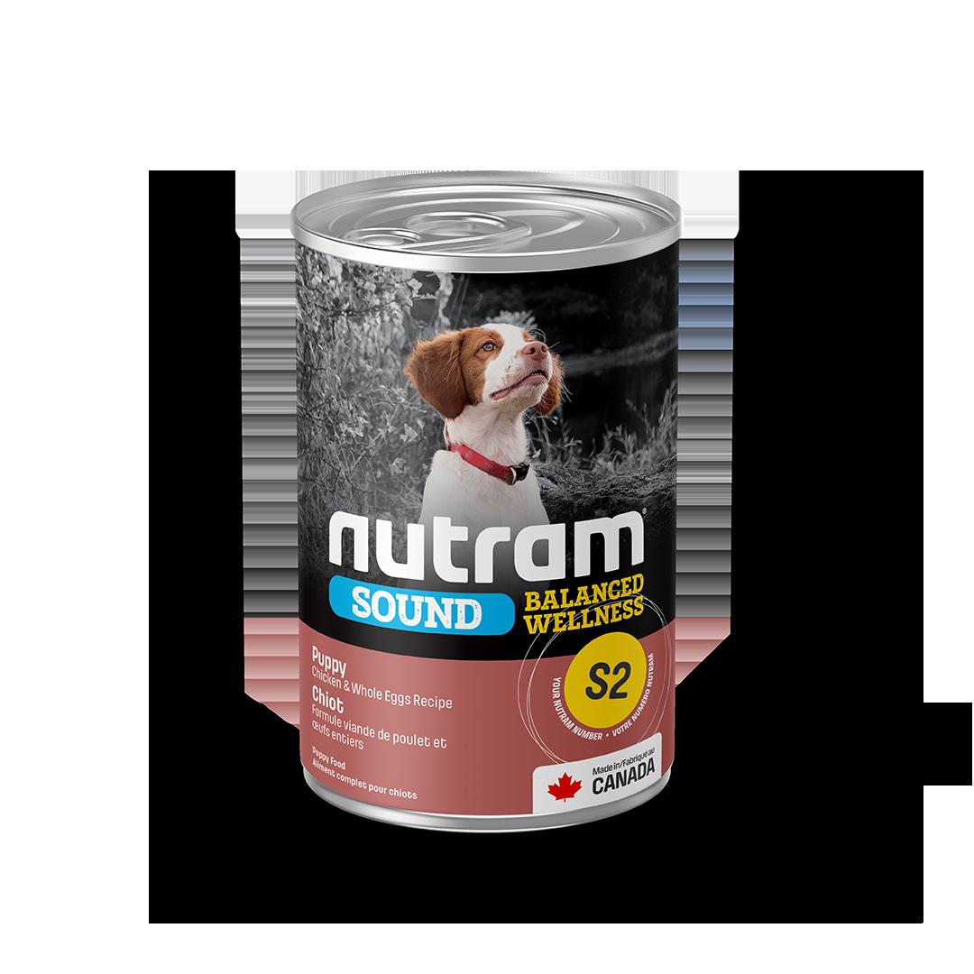Nutram Sound S2 Balanced Wellness Chicken & Whole Eggs Puppy Wet Dog Food, 369-gram, case of 12