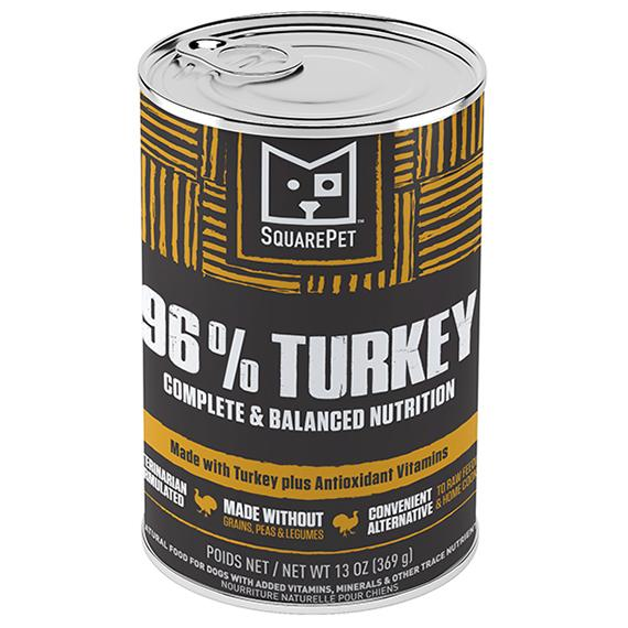 SquarePet SquarePet 96% Turkey Formula Wet Dog Food, 13-oz