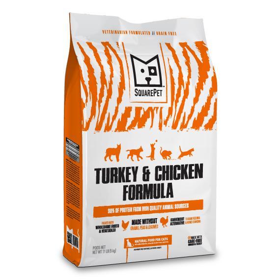SquarePet Turkey & Chicken Dry Cat Food, 11-lb