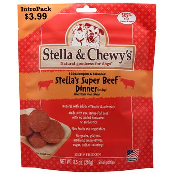 Stella & Chewy's Stella's Super Beef Intropak 8.5-oz Dinner Patties Grain-Free Raw Frozen Dog Food, 8.5-oz