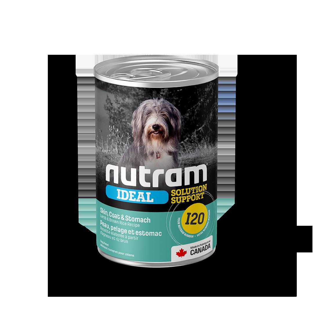 Nutram Ideal I20 Solution Support Skin, Coat & Stomach Lamb & Brown Rice Wet Dog Food, 369-gram, case of 12