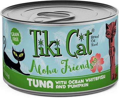 Tiki Cat Aloha Friends Tuna with Ocean Whitefish & Pumpkin Grain-Free Wet Cat Food, 5.5-oz can