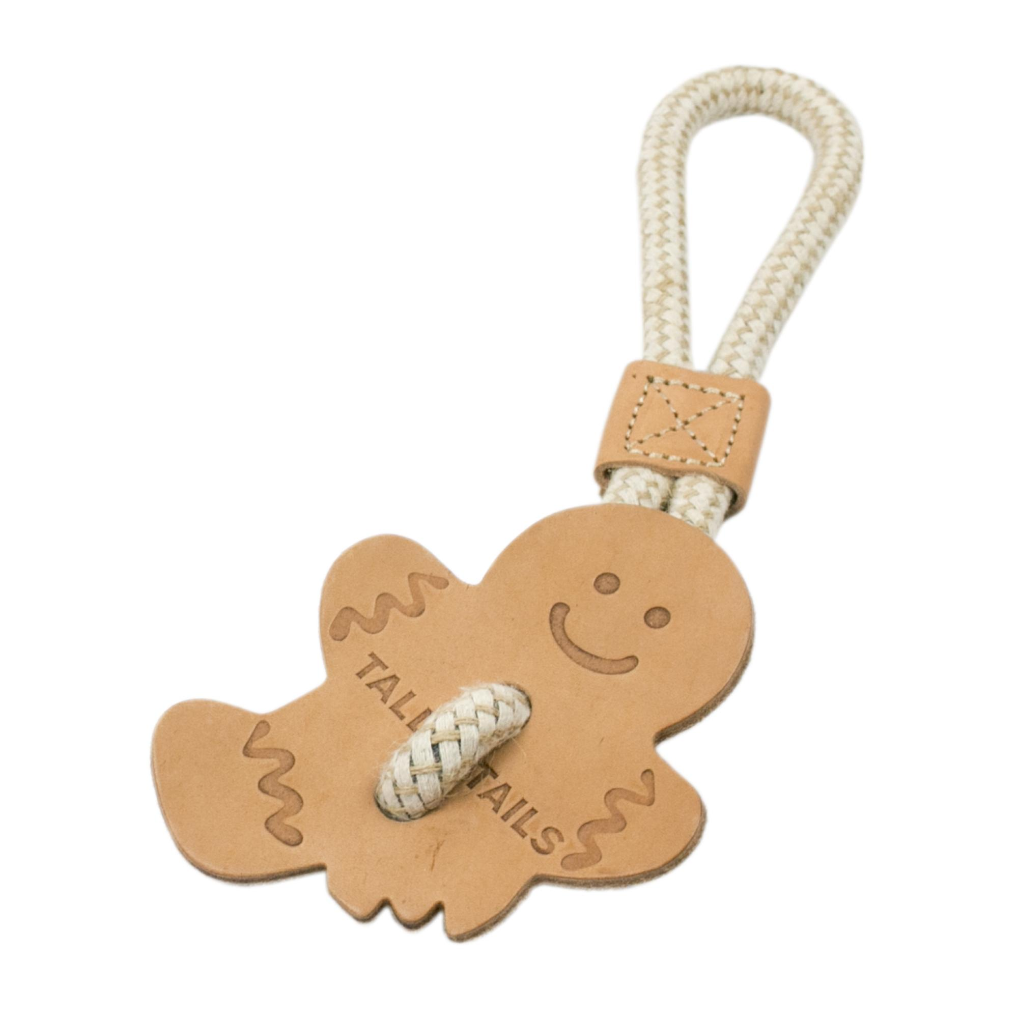 Tall Tails Natural Leather Gingerbread Tug Toy, 13-in