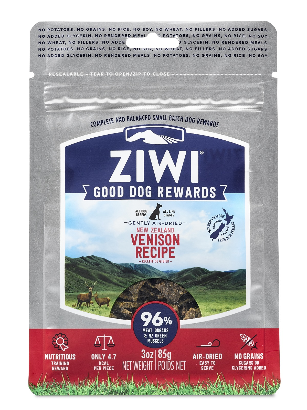 ZIWI Good Dog Rewards Venison Recipe Air-Dried Dog Treats, 3-oz