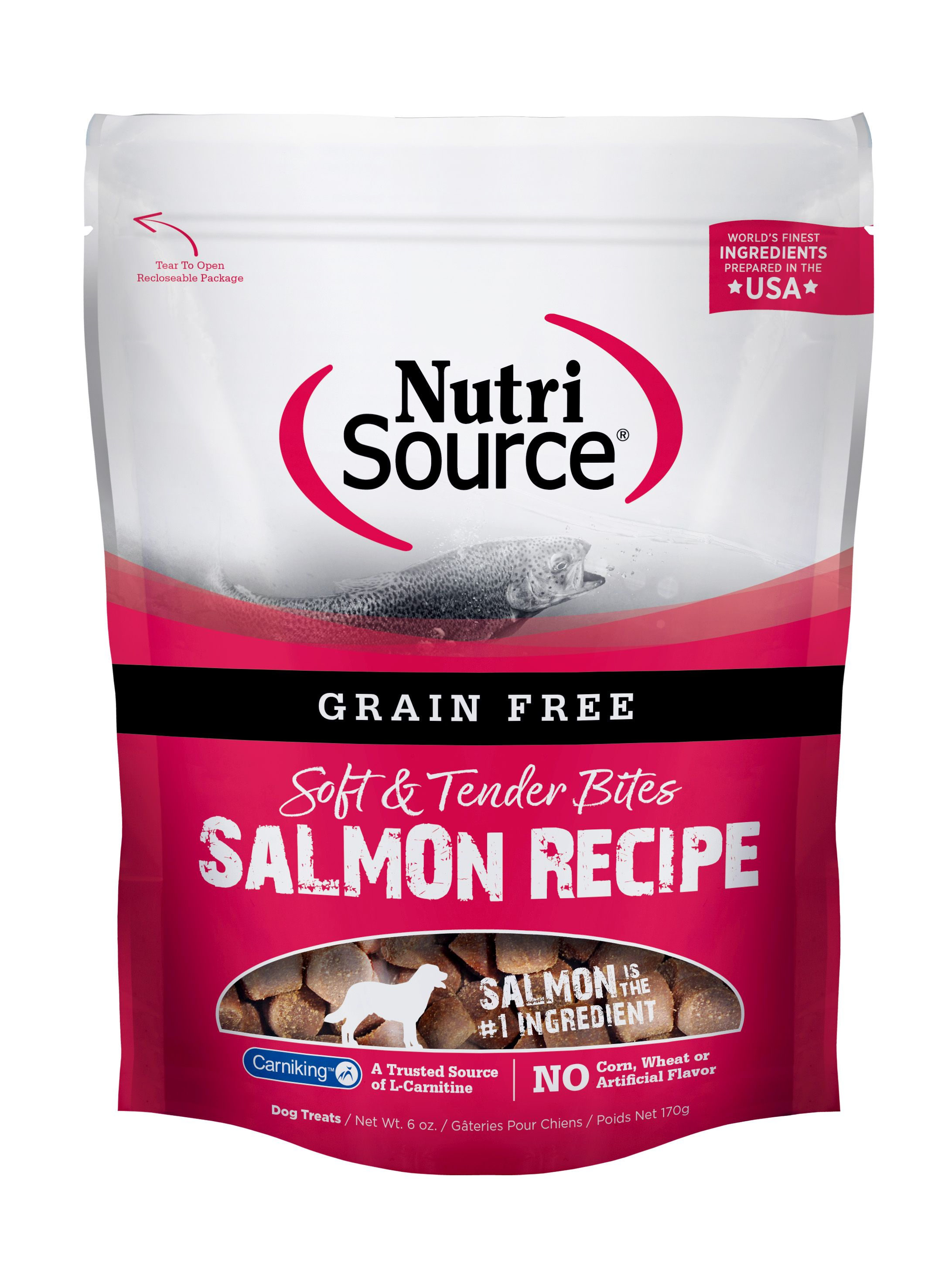 NutriSource Grain Free Bites Salmon Dog Treats, 6-oz
