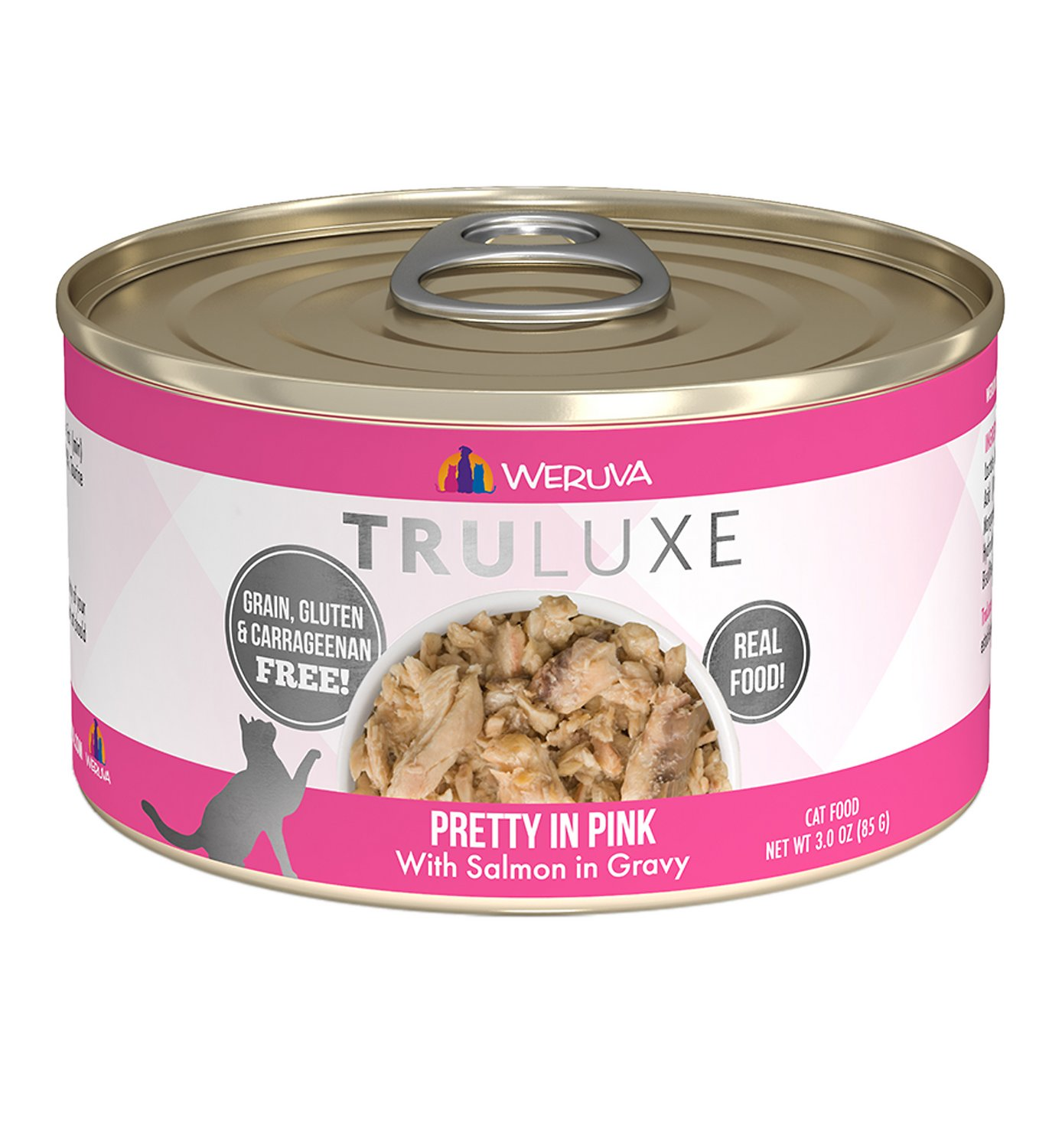Weruva Cat Truluxe Pretty In Pink with Salmon in Gravy Grain-Free Wet Cat Food, 3-oz