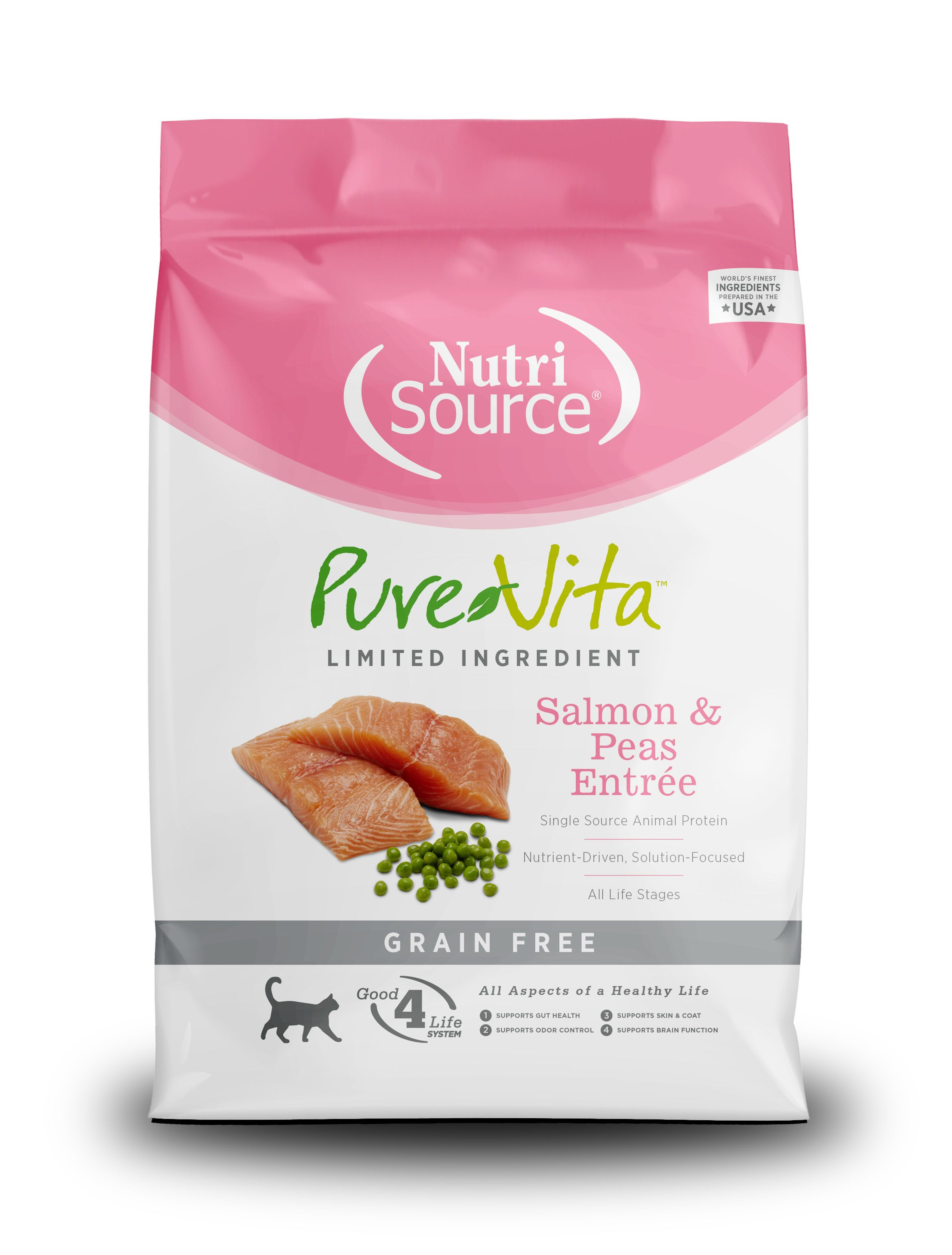 PureVita Grain Free Salmon and Peas Dry Cat Food, 6.6-lb