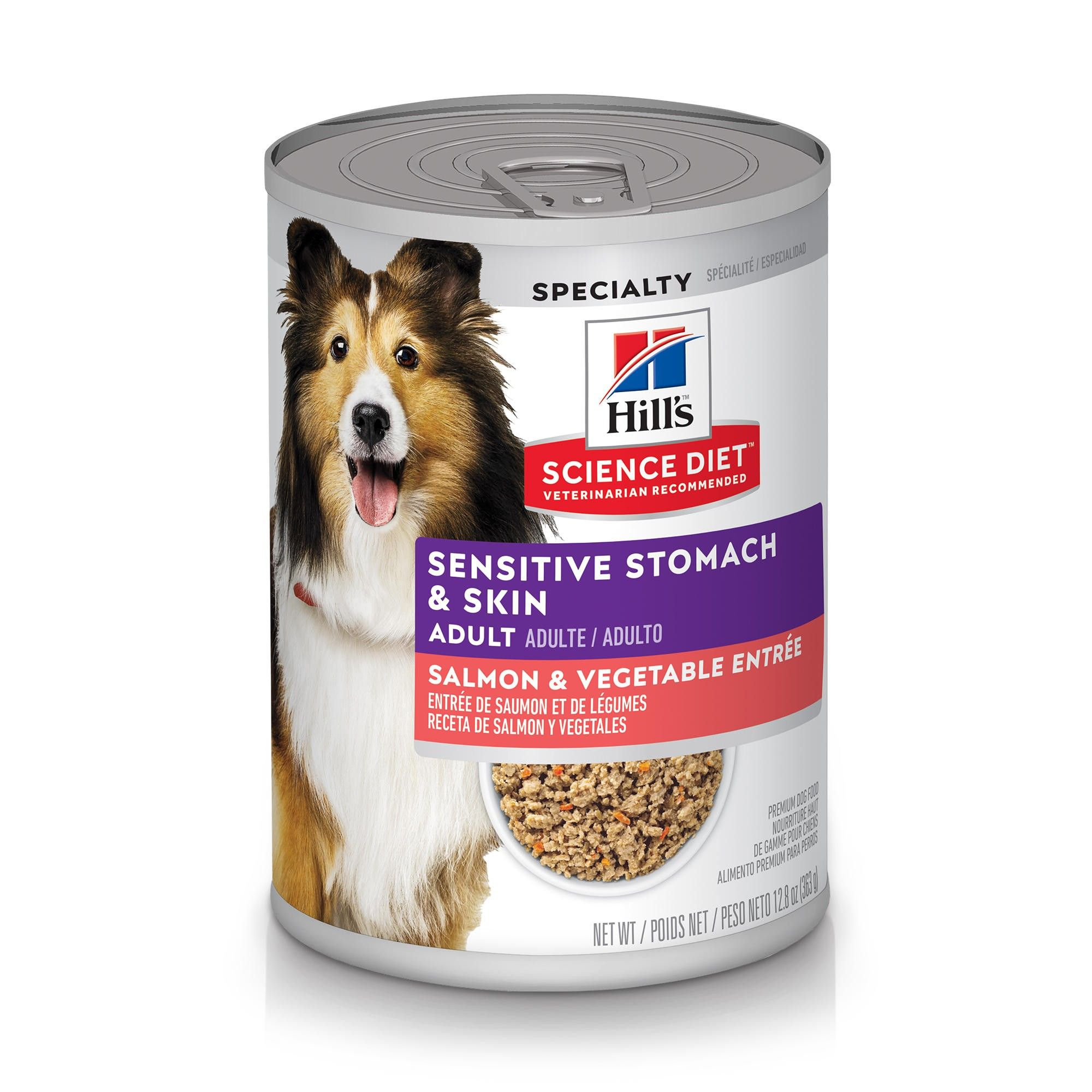 Hill's Science Diet Adult Sensitive Stomach & Skin Grain-Free Salmon & Vegetable Entree Canned Dog Food, 12.8-oz