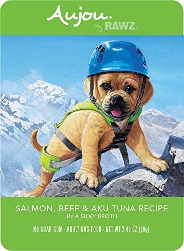 Aujou Salmon, Beef & Aku Tuna Wet Dog Food, 2.46-oz