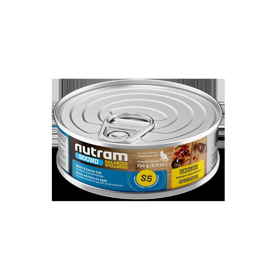 Nutram Sound S5 Well Balanced Chicken & Salmon Adult Senior Wet Cat Food, 156-gram, case of 24