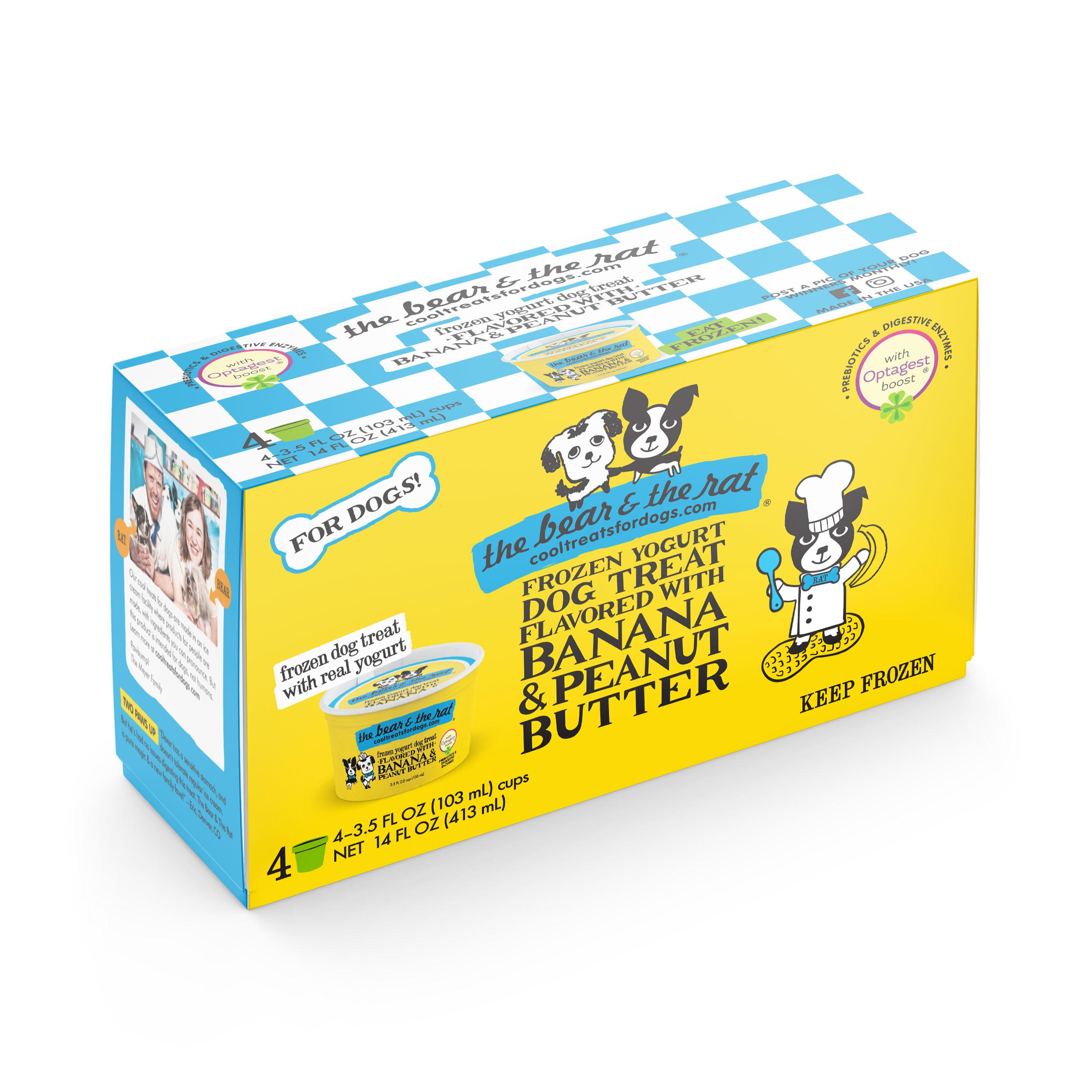 The Bear & The Rat Banana & Peanut Butter Frozen Yogurt Dog Treats, 3.5-oz, 4-pack