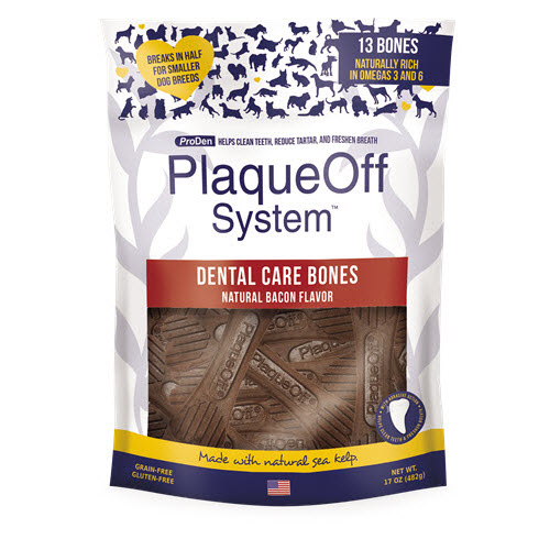 ProDen PlaqueOff System Dental Care Bones Natural Bacon Flavor Dental Dog Chew, 17-oz bag