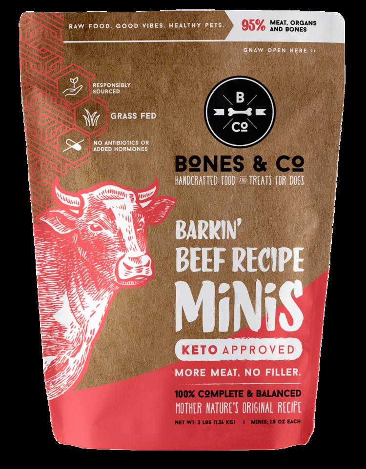Bones & Co Barkin' Beef Recipe Minis Frozen Dog Food, 3-lb