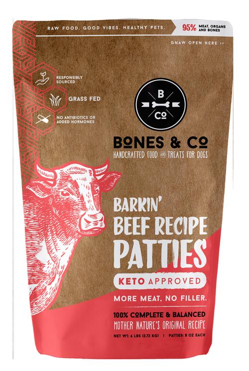 Bones & Co Barkin' Beef Recipe Patties Frozen Dog Food, 6-lb