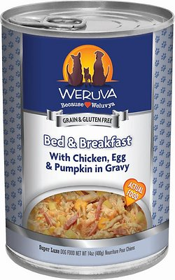 Weruva Dog Classic Bed & Breakfast with Chicken, Egg, & Pumpkin in Gravy Grain-Free Wet Dog Food, 14-oz