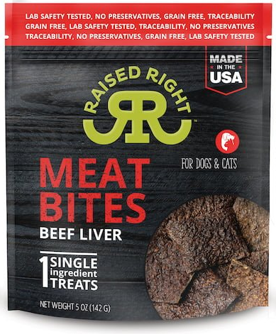 Raised Right Meat Bites Cat and Dog Treats, Beef Liver, 5-oz bag
