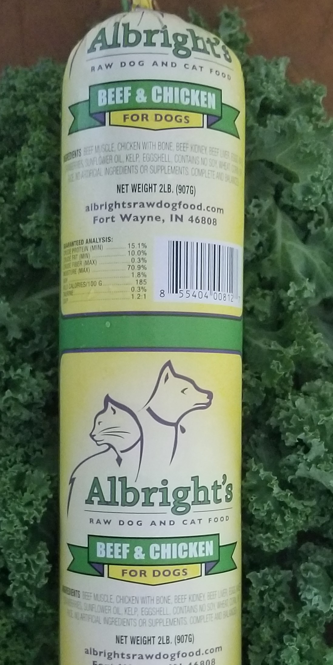 Albright's Beef & Chicken Raw Dog Food, 2-lb chub, case of 16