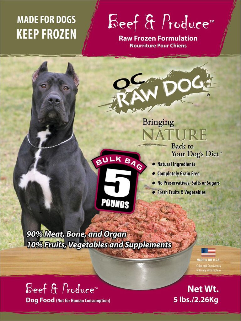OC Raw Dog Beef & Produce Bulk Bag Raw Frozen Dog Food, 5-lb