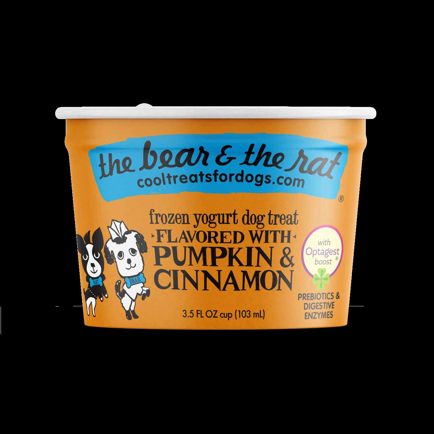 The Bear & The Rat Pumpkin & Cinnamon Frozen Yogurt Dog Treats, 3.5-oz, Single Cup