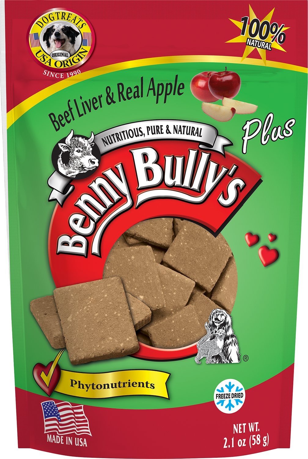 Benny Bully's Liver Plus Beef Liver & Real Apple Freeze-Dried Dog Treats, 2.1-oz